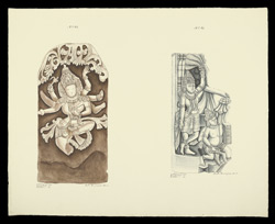 Drawings depicting sculpture from South India